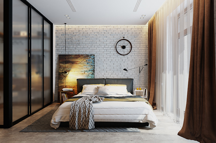 Solo Design Studio Industrial style bedroom Bricks White