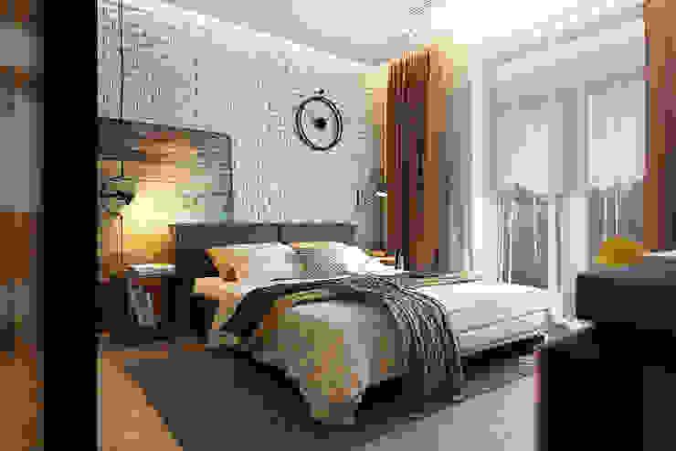 Спальня с элементами лофта и яркими акцентами Спальня в стиле лофт от Solo Design Studio Лофт Кирпичи