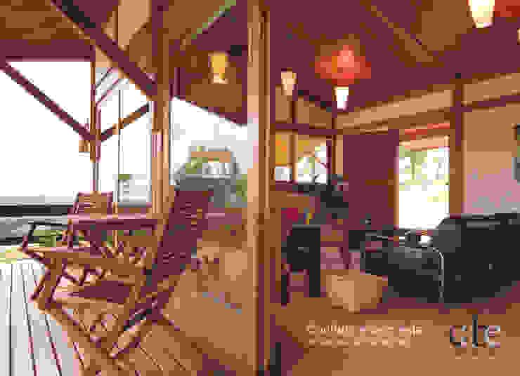 Casa Parurú Varandas, alpendres e terraços campestres por Dualday Studio Campestre Madeira Efeito de madeira