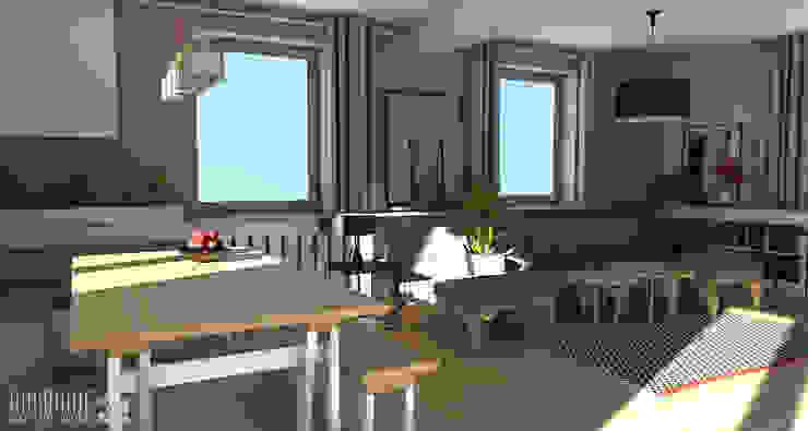 Salon z jadalnią. Skandynawska jadalnia od ROARHIDE Industrial designs Skandynawski Sklejka