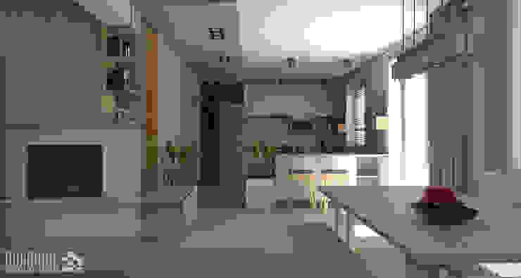 Widok na kuchnię Minimalistyczna kuchnia od ROARHIDE Industrial designs Minimalistyczny Płyta wiórowa
