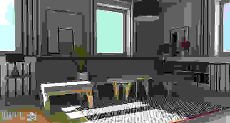 Rzut oka na meble w salonie. Skandynawski salon od ROARHIDE Industrial designs Skandynawski Sklejka