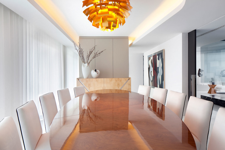 Cascais Penthouse Salas de jantar minimalistas por GAVINHO Architecture & Interiors Minimalista Madeira Acabamento em madeira
