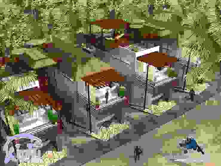 VILLAS:  de estilo tropical por villarreal arquitectos y urbanistas asociados sc, Tropical