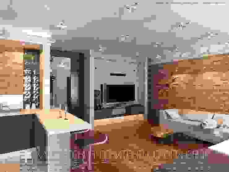Интерьер квартиры в стиле лофт во Владикавказе Гостиная в стиле лофт от Мастерская архитектора Аликова Лофт Кирпичи