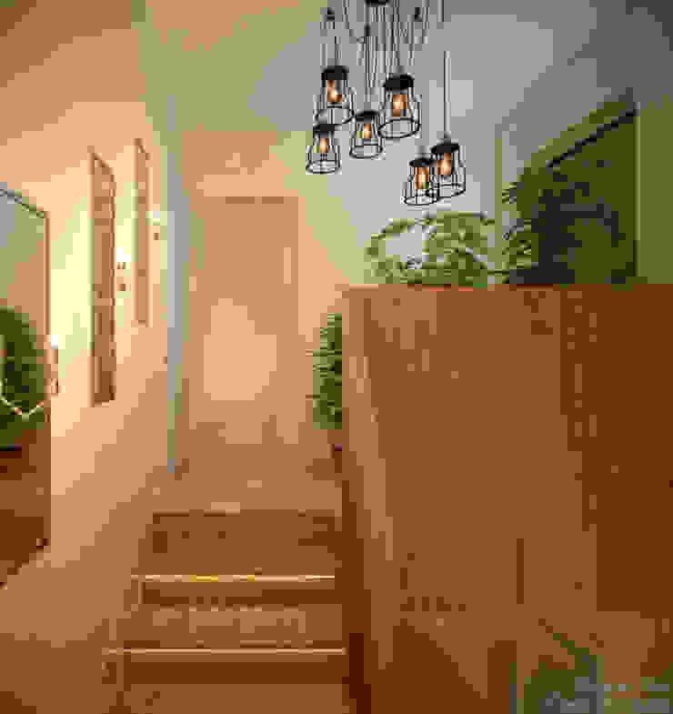 """Дизайн лестницы в современном стиле в коттеджном поселке """"Бавария"""" Коридор, прихожая и лестница в модерн стиле от Студия интерьерного дизайна happy.design Модерн"""