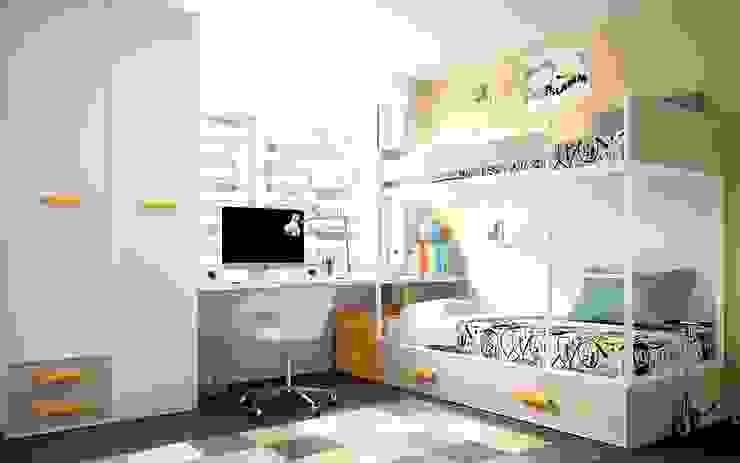 Dormitorio blanco y amarillo con literas Dormitorios de estilo moderno de Casasola Decor Moderno