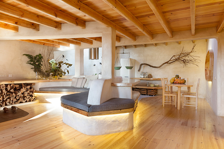 pedro quintela studio Country style living room Wood effect