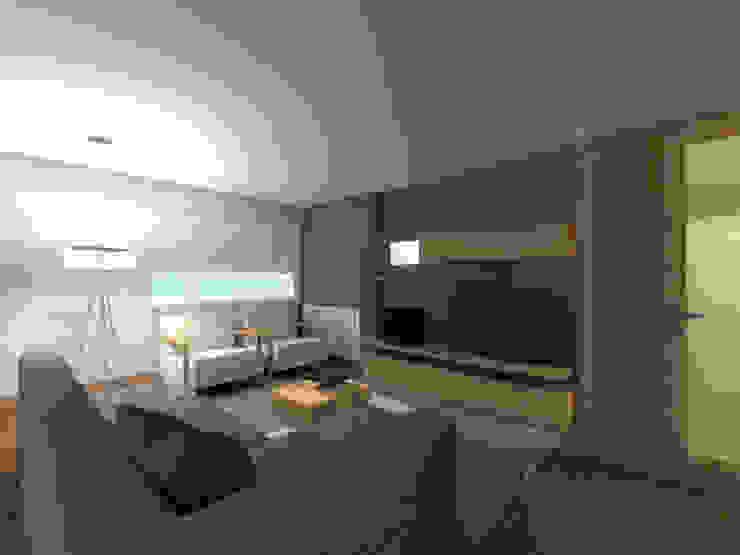 Projeto de Remodelação Apartamento FL Salas de estar minimalistas por Pedaços de Casa Minimalista
