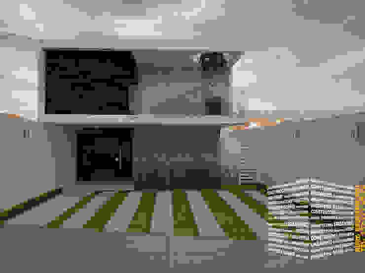 FACHADA CON TERRAZA Casas minimalistas de HHRG ARQUITECTOS Minimalista