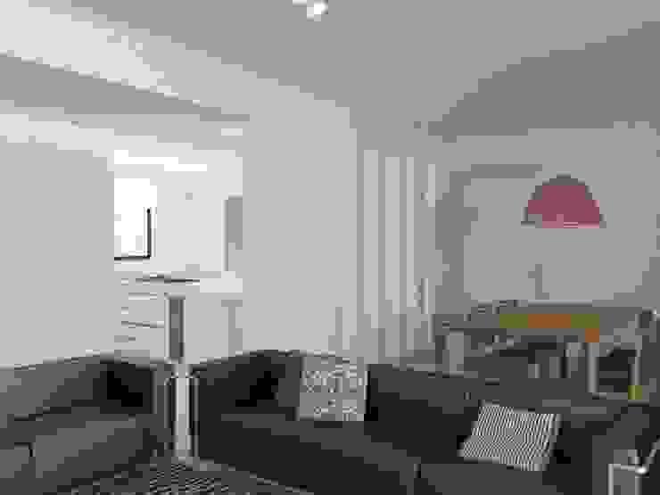 Minimalistyczny salon od RRA Arquitectura Minimalistyczny