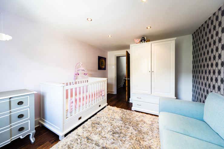Grey-pink-turquoise baby room Affleck Property Services Modern Kid's Room Pink