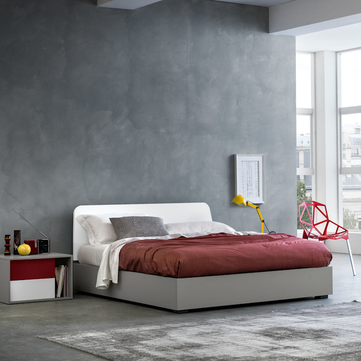'Adam' wooden bed with storage by Mobilstella:  Bedroom by My Italian Living