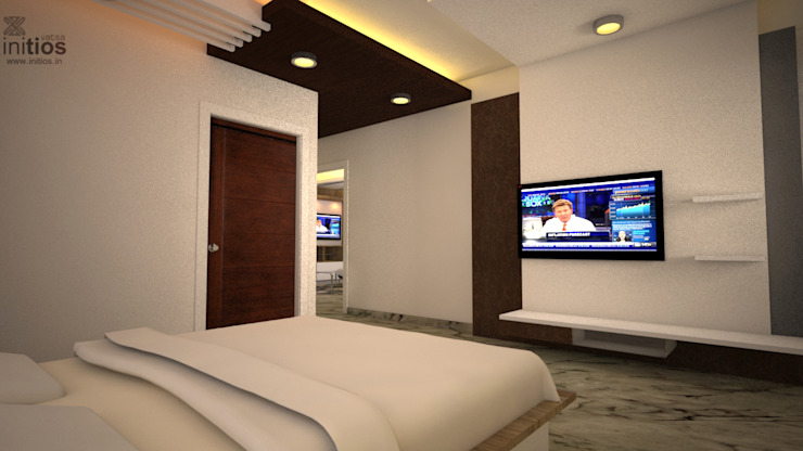 Mr. Bharat 's residence Modern style bedroom by Initios Designs Modern