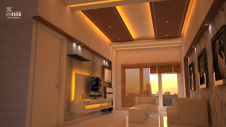 Mr. Amit's Residence Modern living room by Initios Designs Modern