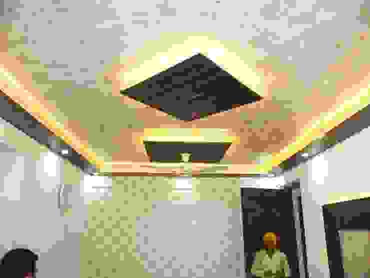 False ceiling design and wallpaper Modern living room by Mohali Interiors Modern Plastic