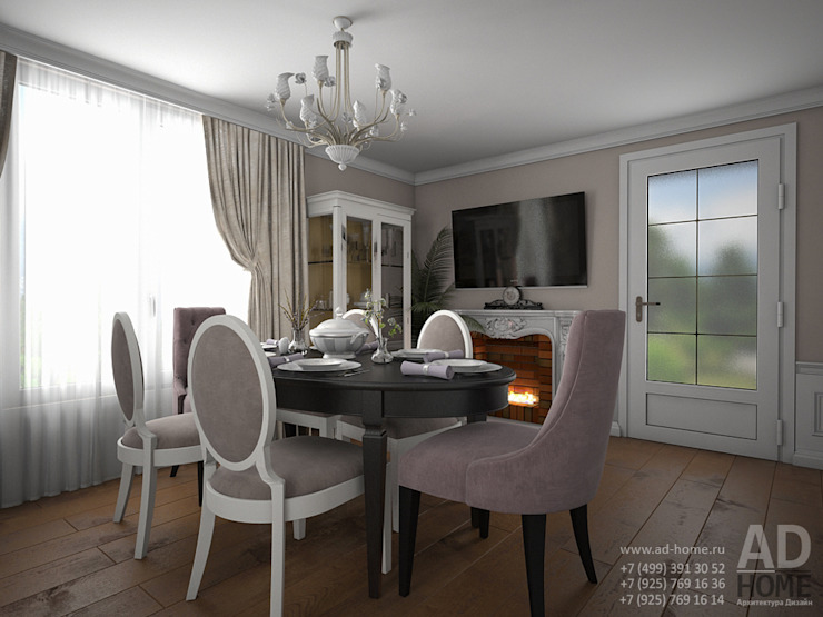 Дизайн интерьера гостиной в двухэтажном доме, 120 кв. м, Московская область Гостиная в классическом стиле от Ad-home Классический