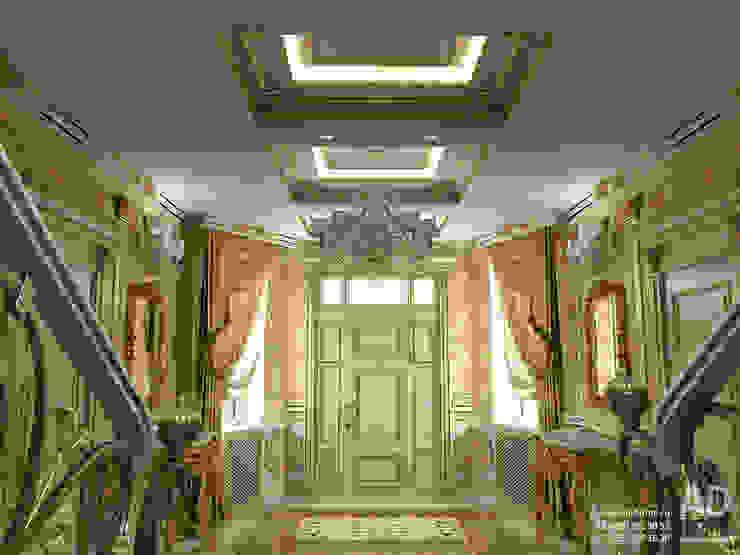 Дизайн интерьера холла в доме в классическом стиле , 370 кв. м в, Московская область Коридор, прихожая и лестница в классическом стиле от Ad-home Классический