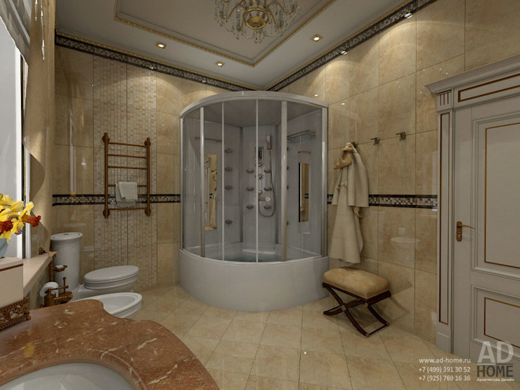 Дизайн интерьера ванной комнаты в доме в классическом стиле , 370 кв. м в, Московская область Ванная в классическом стиле от Ad-home Классический