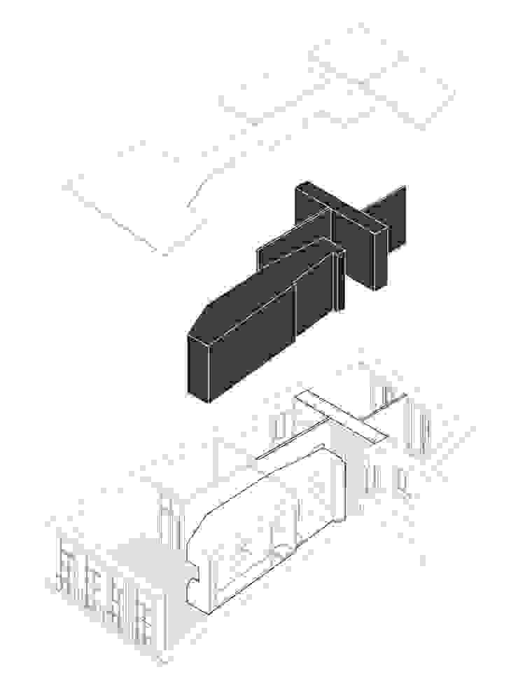 AXONOMETRIA EXPLODIDA COLECTIVO arquitectos Paredes e pisos minimalistas