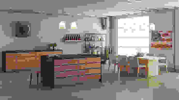 مطبخ تنفيذ Simone Manna 3D, حداثي خشب Wood effect