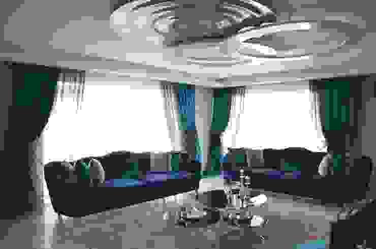 Folkart Narlıdere Salon Perde Tasarımı ve Uygulaması Levent Home Collection Klasik İpek Sarı