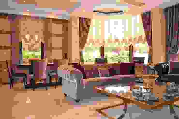 Güzelbahçe, Salon Perde Tasarımı ve Uygulaması Levent Home Collection Klasik Tekstil Altın Sarısı