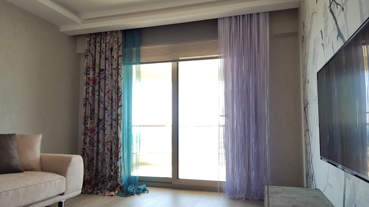 Narlıdere, Oturma Odası Perde Tasarımı ve Uygulaması Levent Home Collection Eklektik Tekstil Altın Sarısı