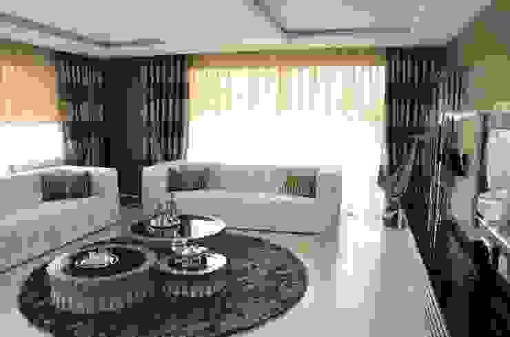 Levent Home Collection – Folkart Narlıdere, Salon Perde Tasarımı ve Uygulaması: modern tarz , Modern Tekstil Altın Sarısı