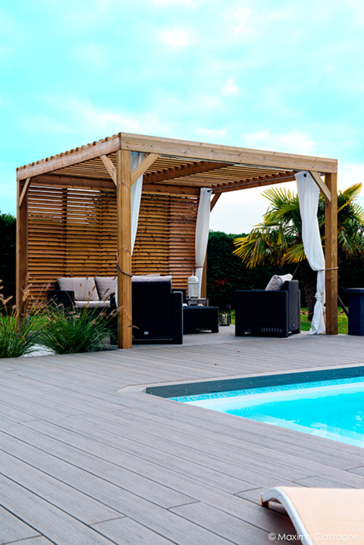 E/P ESPACE DESIGN - Emilie Peyrille Modern Pool Wood effect