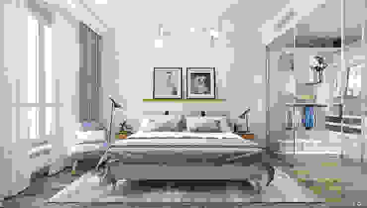 Minimalistische slaapkamers van 1+1 studio Minimalistisch