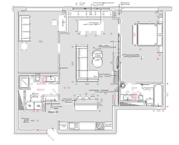 Квартира в ЖК Аэробус Стены и пол в стиле минимализм от 1+1 studio Минимализм