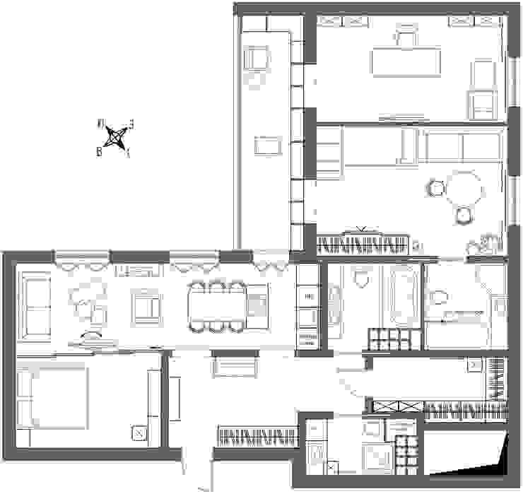 1+1 studio Paredes y pisos de estilo ecléctico