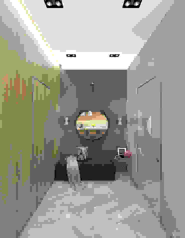 1+1 studio 現代風玄關、走廊與階梯