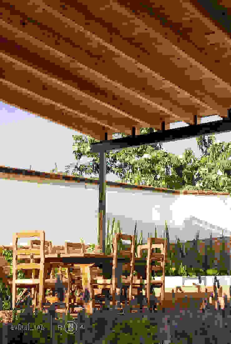 Techumbre de madera Balcones y terrazas minimalistas de Región 4 Arquitectura Minimalista