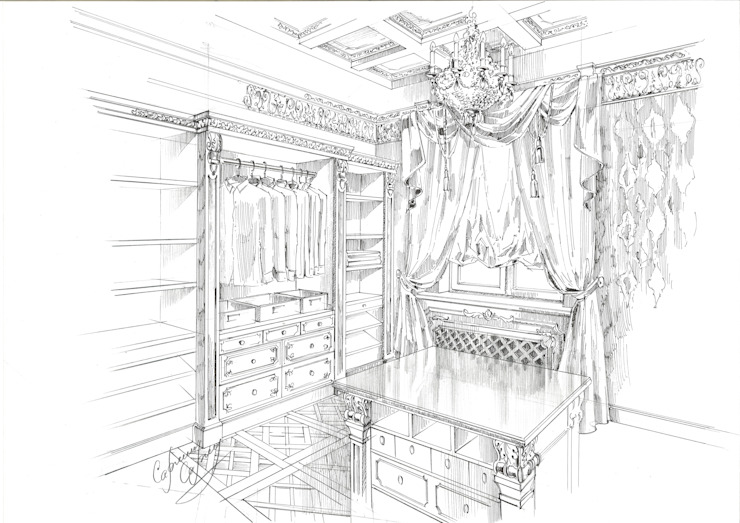 Classic style dressing rooms by Архитектурно-дизайнерская компания Сергея Саргина Classic