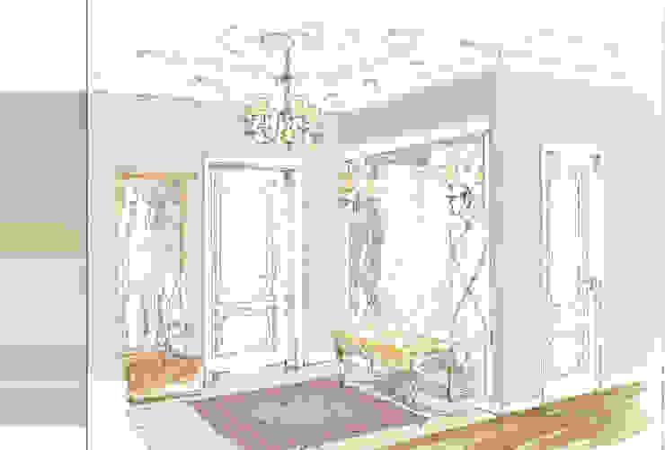 Classic style corridor, hallway and stairs by Архитектурно-дизайнерская компания Сергея Саргина Classic