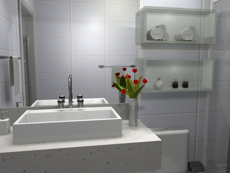PROJETO 3D Banheiros modernos por Claudia Fonseca Designer de Interiores Moderno