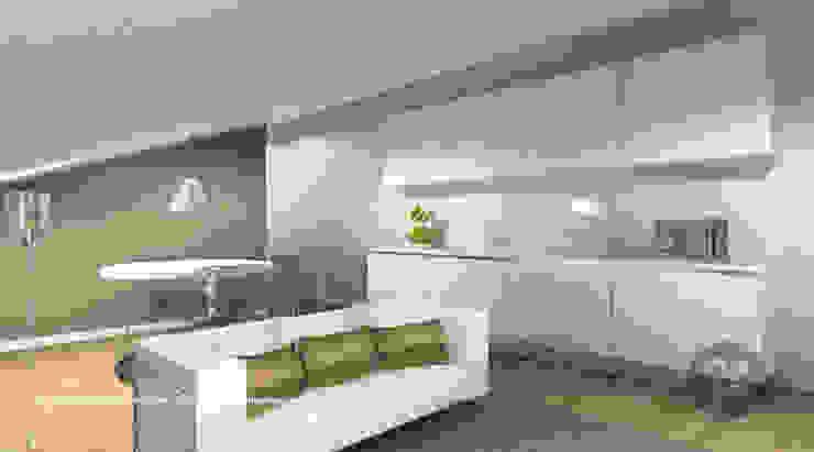 Sótão – Leiria Cozinhas modernas por ATELIER OPEN ® - Arquitetura e Engenharia Moderno