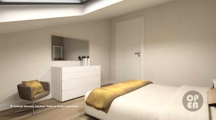 Sótão – Leiria Quartos modernos por ATELIER OPEN ® - Arquitetura e Engenharia Moderno