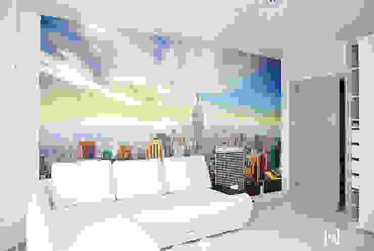 Minimalist bedroom by Hunter design Minimalist Fake Leather Metallic/Silver