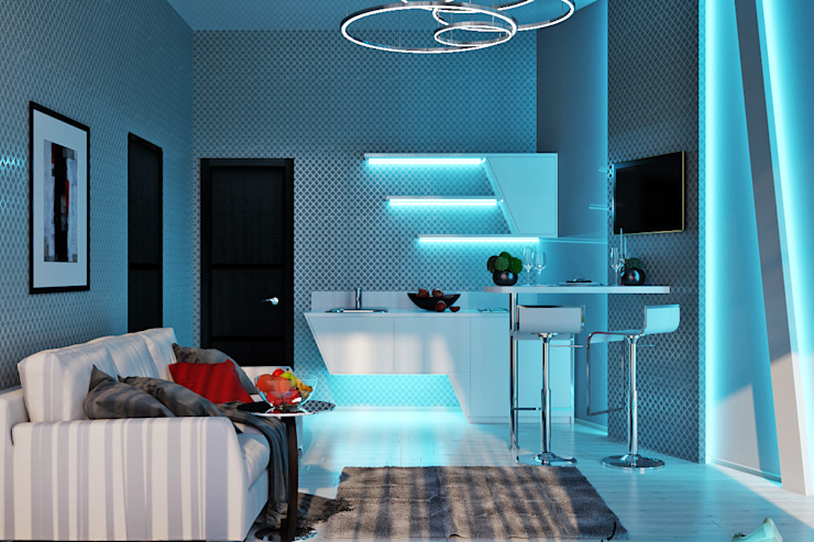 Гостевые апартаменты в современном стиле Кухня в стиле минимализм от Студия дизайна Interior Design IDEAS Минимализм
