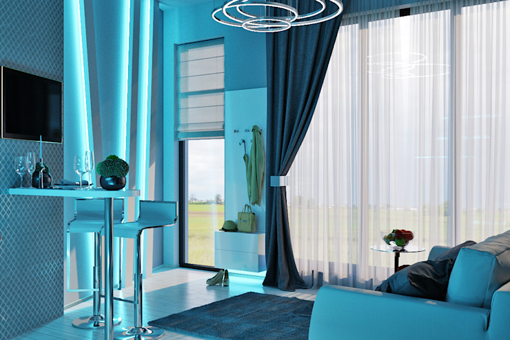 Гостевые апартаменты в современном стиле Гостиная в стиле минимализм от Студия дизайна Interior Design IDEAS Минимализм