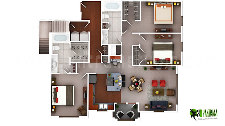 3D Luxury Floor Plans Design For Residential Home por Yantram Architectural Design Studio