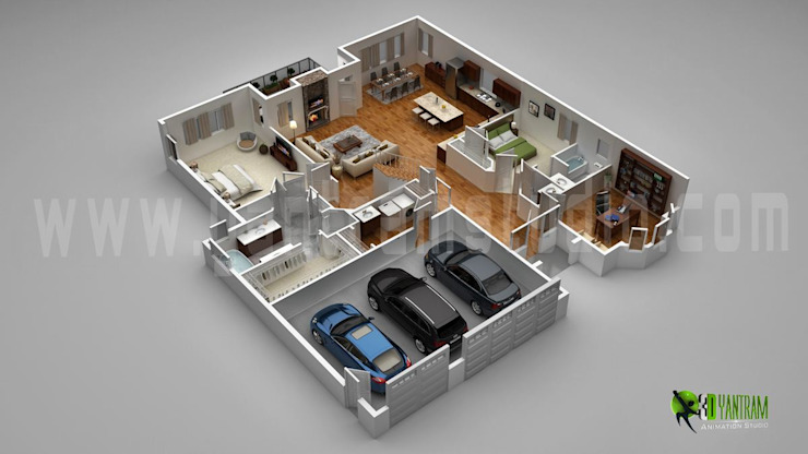3D Luxury Floor Plans Design For Residential Home bởi Yantram Architectural Design Studio