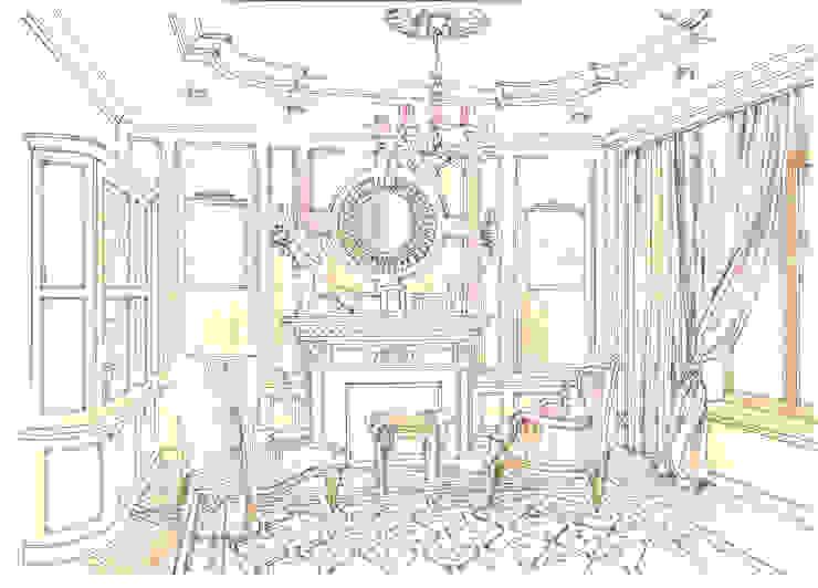Таунхаус в поселке «Ивакино». Гостиная в классическом стиле от Архитектурно-дизайнерская компания Сергея Саргина Классический