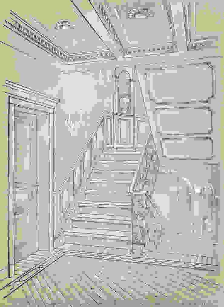 Таунхаус в поселке «Ивакино». Коридор, прихожая и лестница в классическом стиле от Архитектурно-дизайнерская компания Сергея Саргина Классический