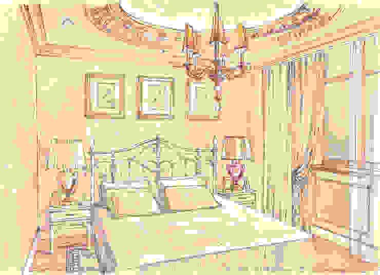 Таунхаус в поселке «Ивакино». Спальня в классическом стиле от Архитектурно-дизайнерская компания Сергея Саргина Классический