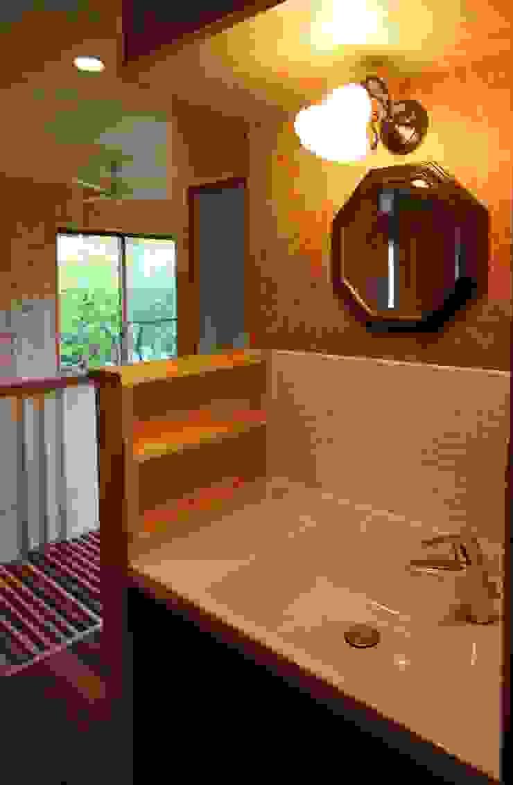 2階洗面 和風の お風呂 の 竹内村上ATELIER 和風 タイル