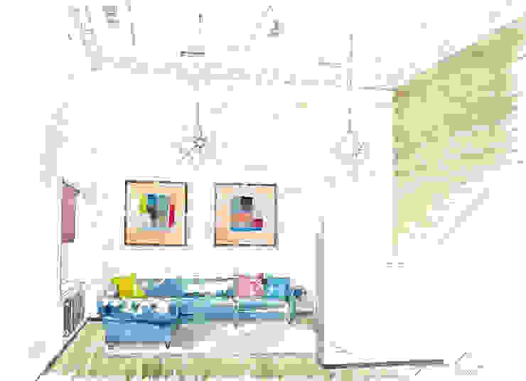«Коллекционер времени». Гостиная в стиле лофт от Архитектурно-дизайнерская компания Сергея Саргина Лофт